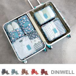 JIDA DINIWELL印花系列行李箱衣物收納袋 6件組(隨機出貨)