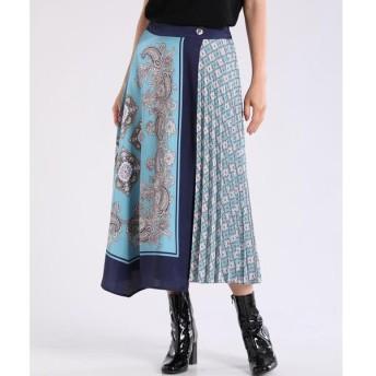 INED / イネド スカーフ柄ラッププリーツスカート