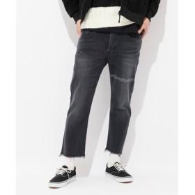 EDWIN 【WEB限定】「E-STANDARD」アンクル丈テーパードデニムパンツ メンズ ブラック