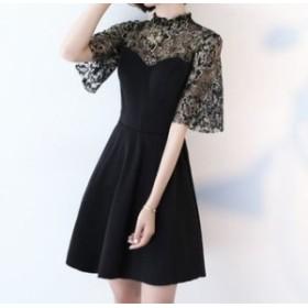 ワンピース ドレス 春 ブラック 半袖 花柄 シースルー 上品 エレガント 可愛い おしゃれ 大人 レディース 結婚式 fe-2644