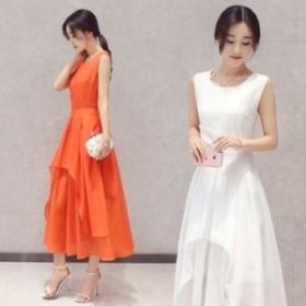 ワンピース ドレス 春 2カラー シンプル ノースリーブ 上品 エレガント 可愛い おしゃれ 大人 レディース 結婚式 fe-2583