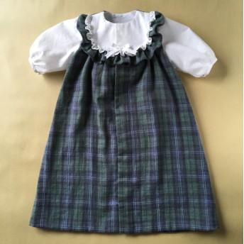 フード付き 秋用 チェックのベビードレス
