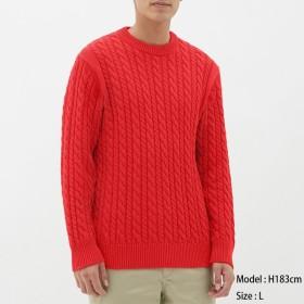 (GU)コットンケーブルクルーネックセーター(長袖) RED XS