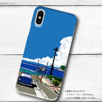 湘南イラスト 鎌倉高校前踏切とワーゲンの風景 ハードケース型スマホケース iPhone & Android対応