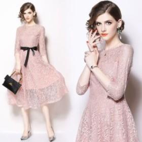 ワンピース ドレス ピンク 春 シースルー リボン エレガント 七分袖 可愛い おしゃれ 大人 レディース 結婚式 fe-2480
