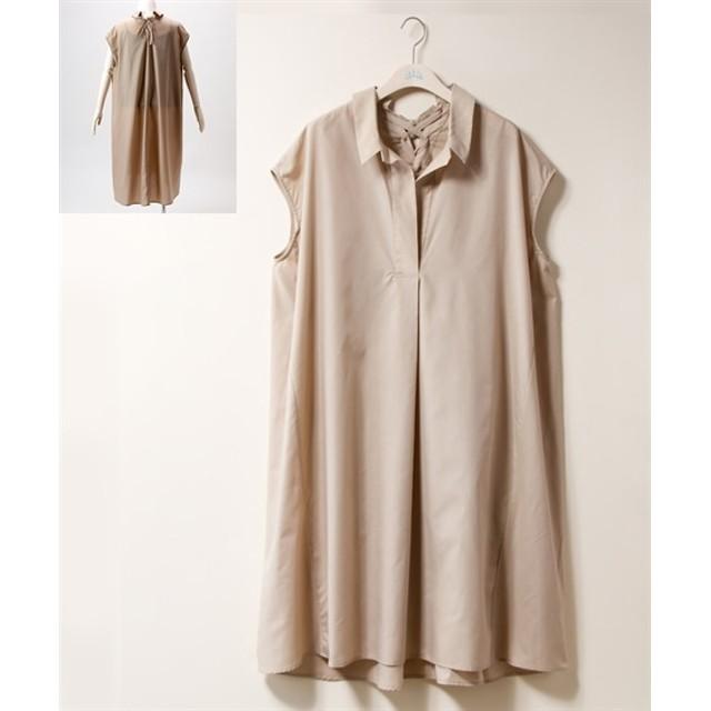 バックレースアップスキッパーチュニックワンピース【INCEDE】 (大きいサイズレディース)ワンピース, plus size dress, 衣裙, 連衣裙