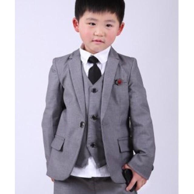 3点セット 男の子 子供スーツ 高品質 キッズ フォーマル 紳士服 卒業式 七五三 入学式 発表会 結婚式90~140長パンツ+ジャケット+ベスト
