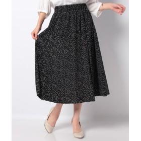 (NIMES/ニーム)Patterned Fabric イージーフレア-スカート(ドット)/レディース オフホワイト×ブラック
