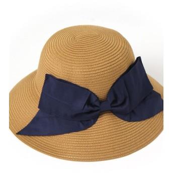 リアルスタイル リボン付きウォッシャブルハット レディース 帽子 ハット 紫外線対策 UVカット帽子 UV対策 日焼け防止 UVケア UVハットつば広 日よけ おしゃれ 旅行 レディース ダークベージュ F 【REAL STYLE】