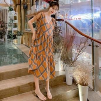 ワンピース レディース マキシワンピース 韓国風大きいサイズワンピース ワンピース 大人妊婦服 シフォン オシャレ ノースリーブ ロング