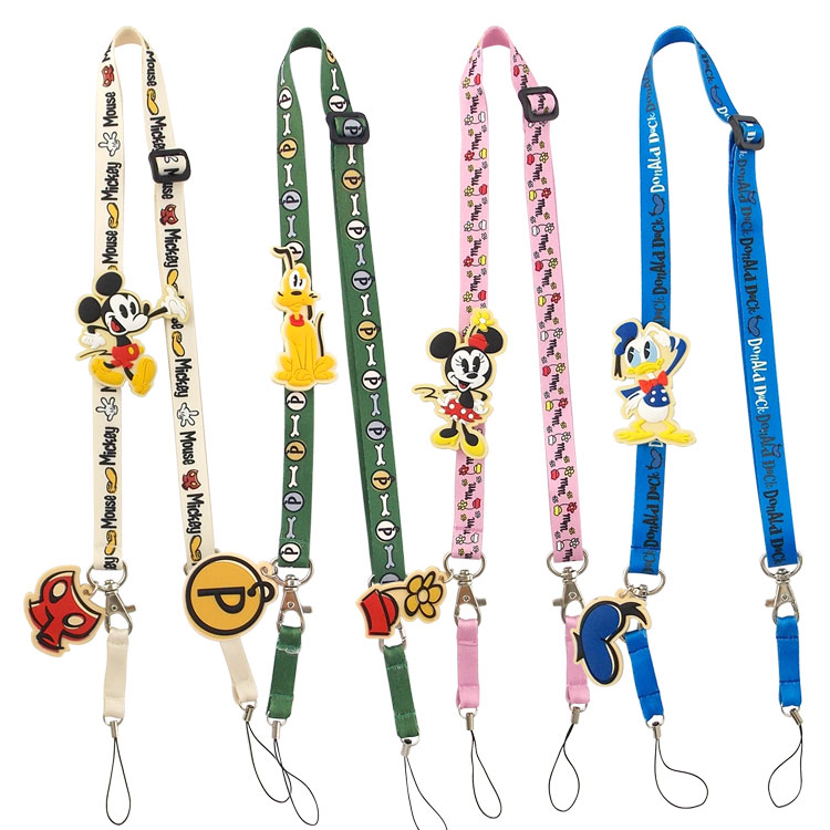 【Disney】 可愛造型零件手機袋吊繩/識別證帶-米奇歡笑多系列