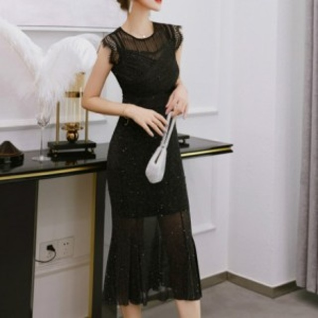 ワンピース ドレス 春 ブラック 袖無し ロング タイト レース 上品 エレガント 可愛い おしゃれ 大人 レディース 結婚式 fe-2617
