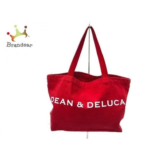 ディーンアンドデルーカ DEAN&DELUCA トートバッグ レッド×白 2008 5TH ANNIVERSARY キャンバス 新着 20191012