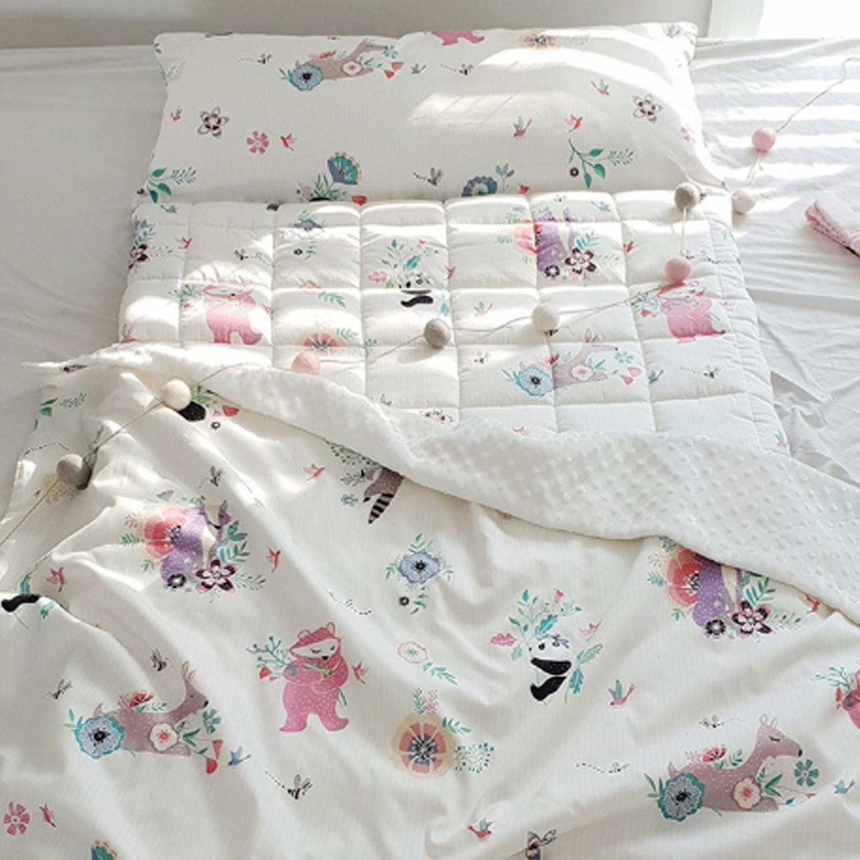 韓國 Formongde - 5cm厚墊雙面用睡袋/寢具(附收納袋)-春天動物園