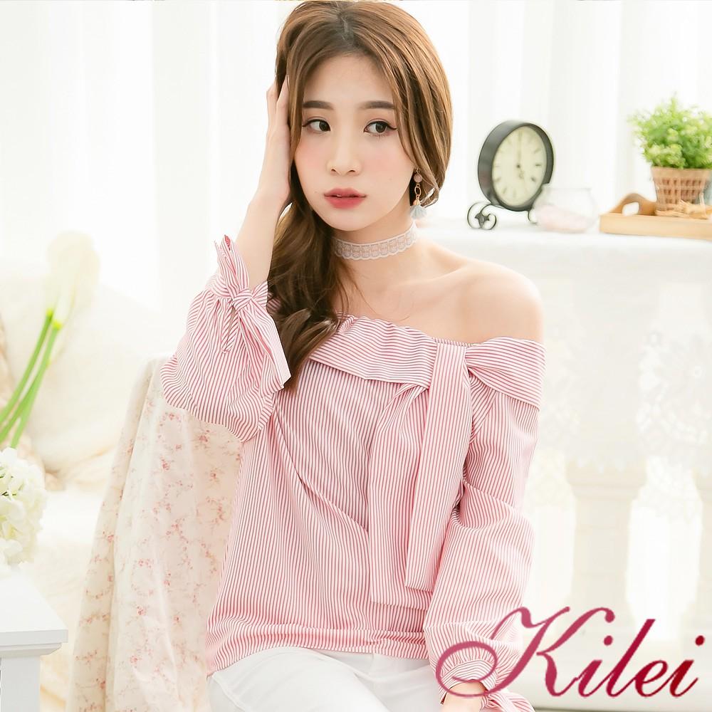 【Kilei】露肩一字領鬆緊翻領綁結上衣XA3919-02(紅白條)全尺碼