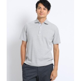 (TAKEO KIKUCHI/タケオキクチ)メランジハニカム ボーダー ポロシャツ/メンズ グレー(012)