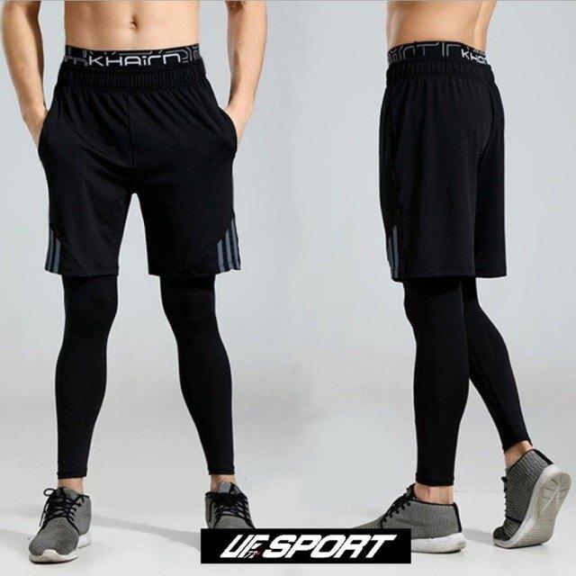 【UF72】UF-2017 黑灰 健身專用速乾彈力男士假兩件訓練壓縮褲(健身/速乾/彈力/訓練)