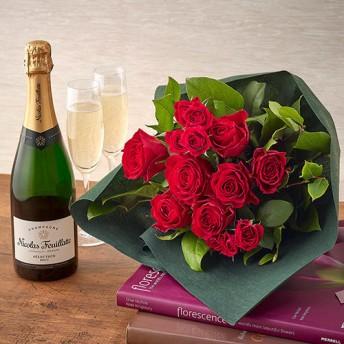 【日比谷花壇】シャンパーニュと赤バラの花束セット