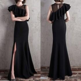 ワンピース ドレス 春 ブラック マーメイド フリル ロング 上品 エレガント 可愛い おしゃれ 大人 レディース 結婚式 fe-2573