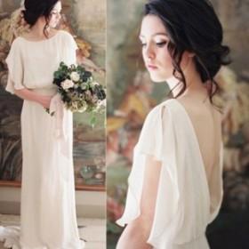 ワンピース ドレス 春 ホワイト 五分袖 ロング シンプル セクシー 上品 エレガント 可愛い おしゃれ 大人 レディース 結婚式 fe-2697