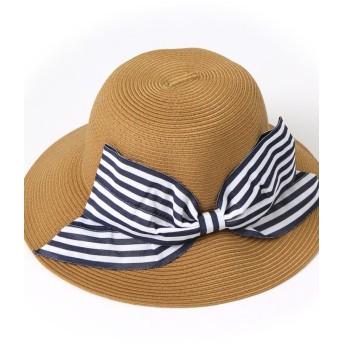 リアルスタイルリボン付きウォッシャブルハット レディース 帽子 ハット 紫外線対策 UVカット帽子 UV対策 日焼け防止 UVケア UVハットつば広 日よけ おしゃれ 旅行レディースダークベージュ系1F【REAL STYLE】
