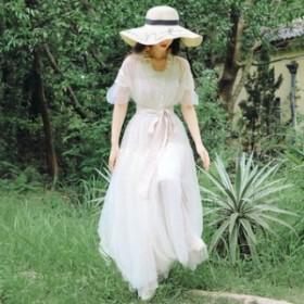 ワンピース 春 ベージュ ロング 透け感 半袖 可愛い おしゃれ 大人 レディース 結婚式 fe-2471