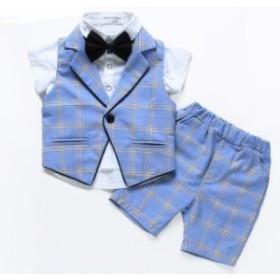 3点セット 男の子 子供スーツ 高品質 キッズ フォーマル 紳士服 卒業式 七五三 入学式 発表会 結婚式90~140短パンツ+ベスト+短シャツ