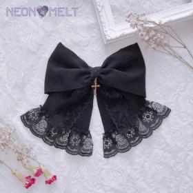 Cross ribbon ヘアクリップ (black)