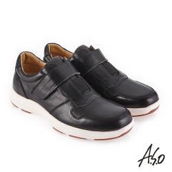A.S.O 超能耐二代 自黏帶款休閒鞋-黑