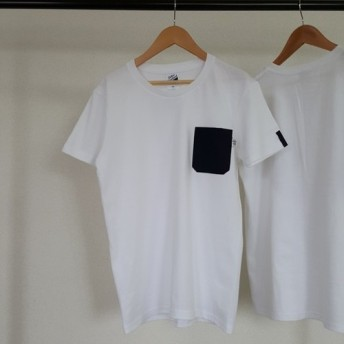 SALE【レディースL】ママミラ・ブラック無地ポケット付き白Tシャツ(WL)10000030