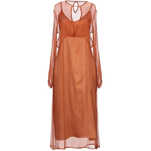《期間限定セール開催中!》LIVIANA CONTI レディース 7分丈ワンピース・ドレス 赤茶色 40 シルク 100%