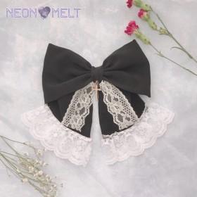 Cross ribbon ヘアクリップ (white)