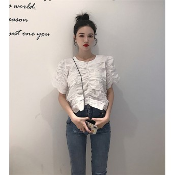 2019夏新作入荷 超高品質 韓国ファッション CHIC気質 ヴィンテージ プリーツ 半袖 トップ シャツ 女性