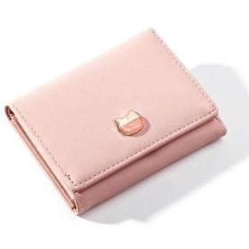 (REAL STYLE/リアルスタイル)三つ折りネコモチーフ財布 レディース 短財布 3つ折り さいふ サイフ ミニ財布 ミニウォレット ウォレット 小銭入れなし カードケース カード入れ 収納 コン/レディース ピンク