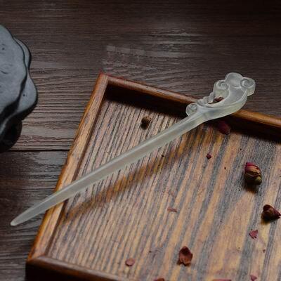 【玉髮簪-如意簪子/梅花簪子-1支/組】手工雕刻天然a貨岫玉髮簪兩款可選(含禮盒)-30104