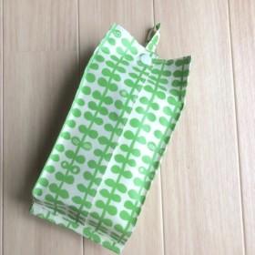 【訳あり】コンパクトティッシュ のカバー* 葉っぱ柄 グリーン