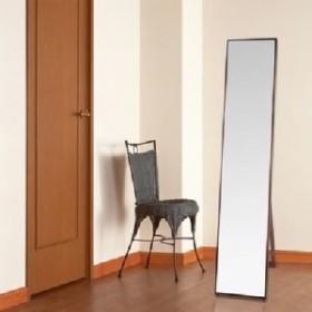シンプル スタンドミラー/全身姿見鏡 【ダークブラウン】 幅32cm 飛散防止加工 茶  送料無料