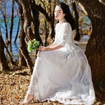 マキシワンピース レディース ロングドレス パーティードレス 結婚式 Aライン エンパイアドレス 送料無料
