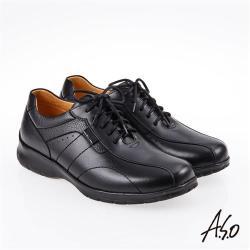 A.S.O 霸足氣墊 油感綁帶氣墊休閒皮鞋 黑