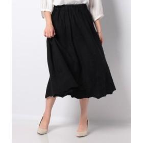 (NIMES/ニーム)Patterned Fabric イージーフレアースカート(レース)/レディース ブラック