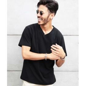 (JIGGYS SHOP/ジギーズショップ)ポンチVネック半袖Tシャツ/Tシャツ メンズ ティーシャツ 半袖 vネック/メンズ ブラック