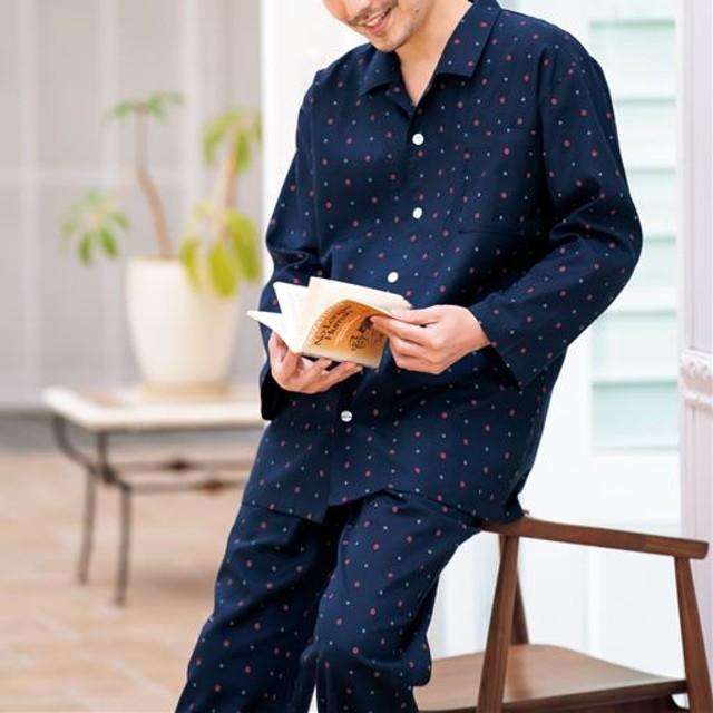 【レディース】 綿100%ビエラシャツパジャマ(男女兼用) ■カラー:小紋柄 ■サイズ:M,L,LL,3L,5L,S