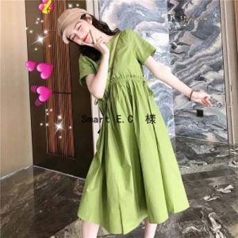 【夏新作】レディース ワンピース 体型カバー 春 夏 ロング 半袖 レディース