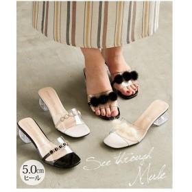 サンダル レディース スクエアトゥシースルー ミュール 靴 22.0〜22.5/23.0〜23.5/24.0〜24.5cm ニッセン