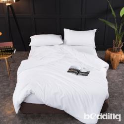BEDDING-日式簡約純色系特大雙人薄式床包枕套三件組-雪白色