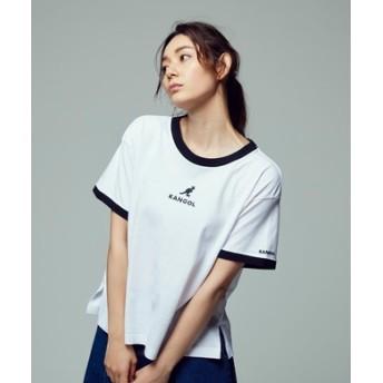 KANGOL フロントロゴ刺繍リンガーTシャツ レディース ホワイト