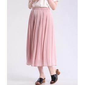 CLEAR IMPRESSION パウダーサテンプリーツスカート ひざ丈スカート,グレイッシュピンク3