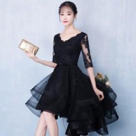 ワンピース ドレス 春 ブラック 半袖 レース 上品 エレガント 可愛い おしゃれ 大人 レディース 結婚式 fe-2650