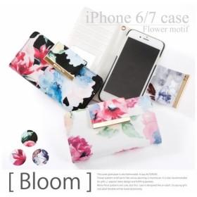 ミラー付き iPhone8 iPhone7 iPhone6s iPhone6 花柄 手帳型ケース オシャレ かわいい フラワー