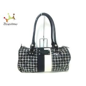 ケイトスペード ハンドバッグ 黒×白×アイボリー ミニボストン ジャガード×エナメル(レザー)     スペシャル特価 20200103